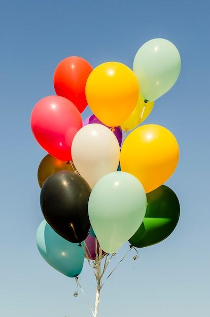 헬륨 풍선의 화려한 무리 프리미엄 사진