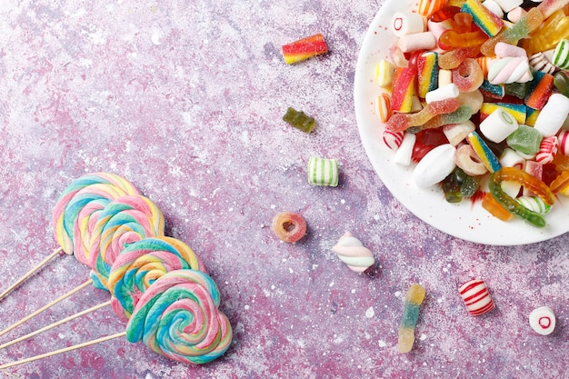 Colorful candies, jelly and marmalade,unhealthy sweets. Free Photo