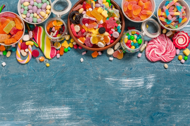 Colorful candies mixed Premium Photo