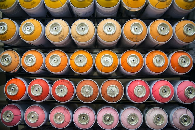Colorful cans of paint Premium Photo