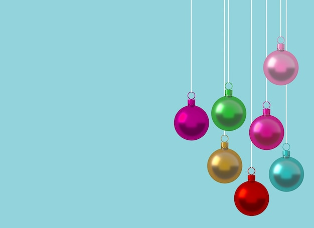 Colorful Christmas.Colorful Christmas Ball Ornament Hanging On Blue Background