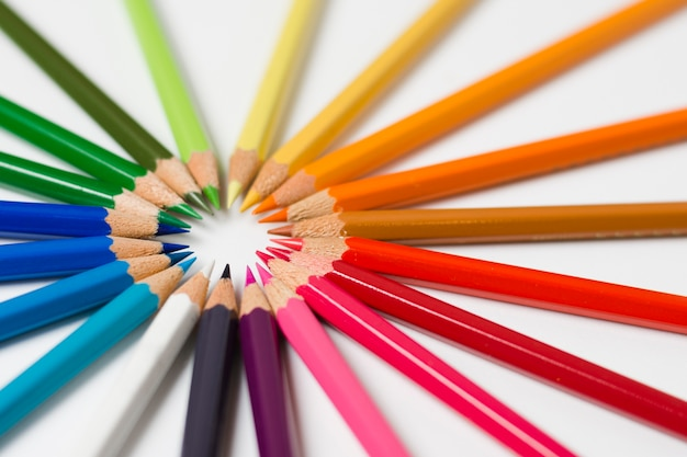 Colorful circle of sharpened pencils Free Photo