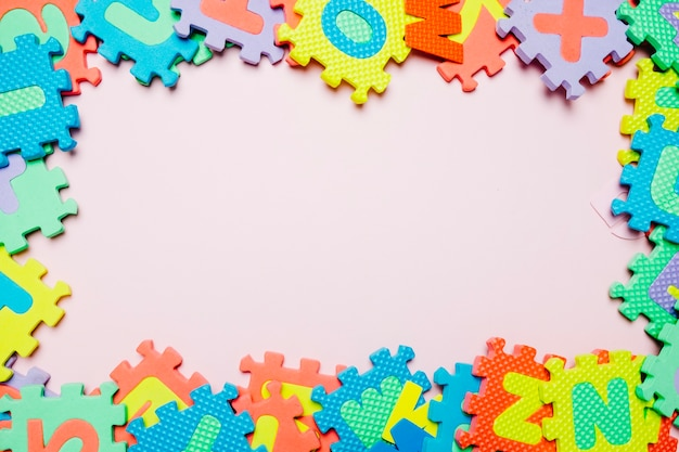 Colorful composition of kid puzzle Free Photo