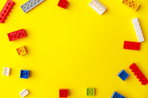 Colorful construction bricks for kids. preschool activity with little children. Premium Photo
