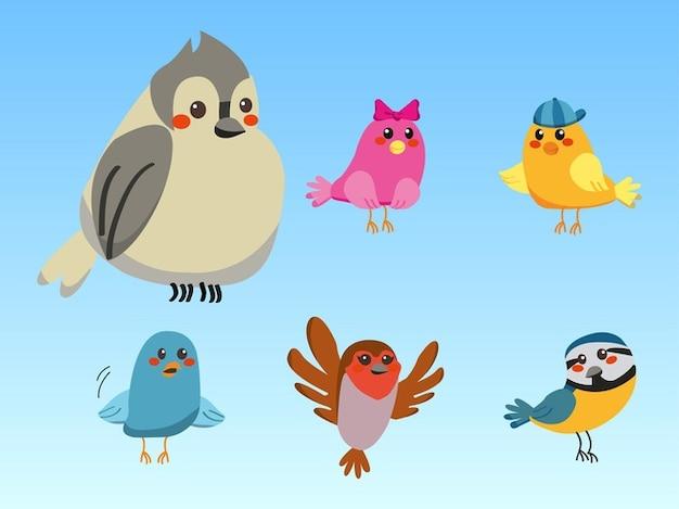 Colorful cute cartoon birds vector Photo | Free Download