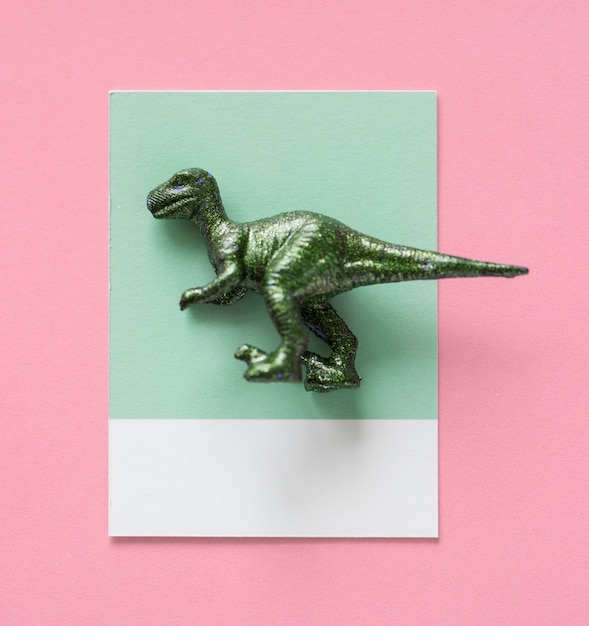 Colorful  and cute miniature dinosaur figure Free Photo