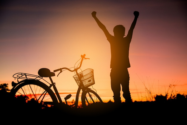Colorful of cyclist and bicycle silhouettes Free Photo