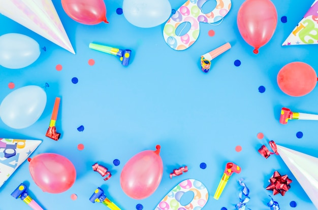 Colorful decorative birthday elements Free Photo