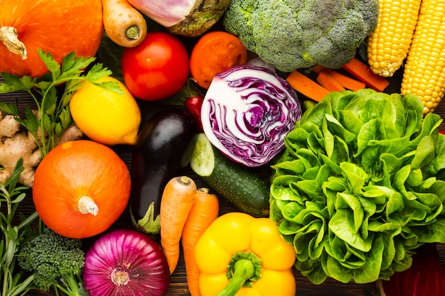 Colorful delicious vegetables arrangement Free Photo