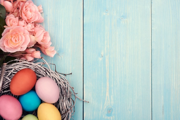 Colorful easter eggs in the nest Free Photo
