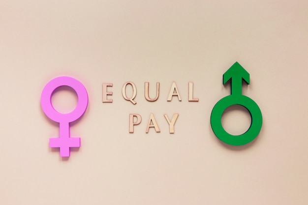 Colorful equal pay symbol concept Free Photo