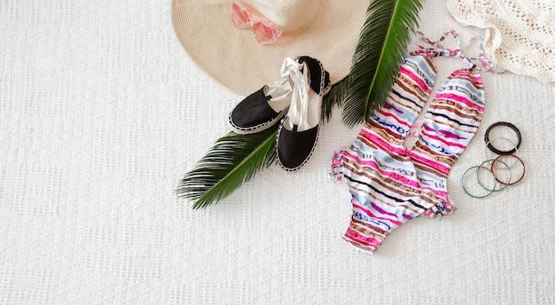 Colorful fashion women's summer clothing flat lay. Free Photo