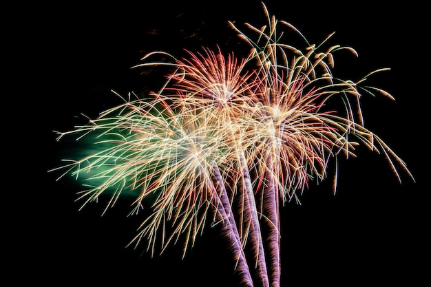 Colorful fireworks against a black night sky.fireworks for new year. beautiful colorful fireworks display on the urban lake for celebration Premium Photo