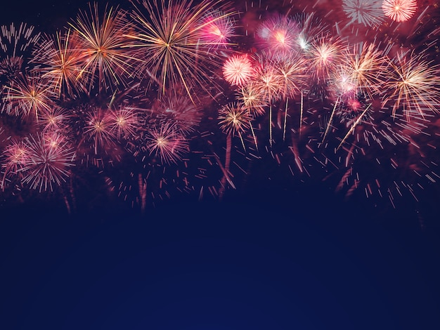 Colorful fireworks on the black sky background with free space for text Premium Photo