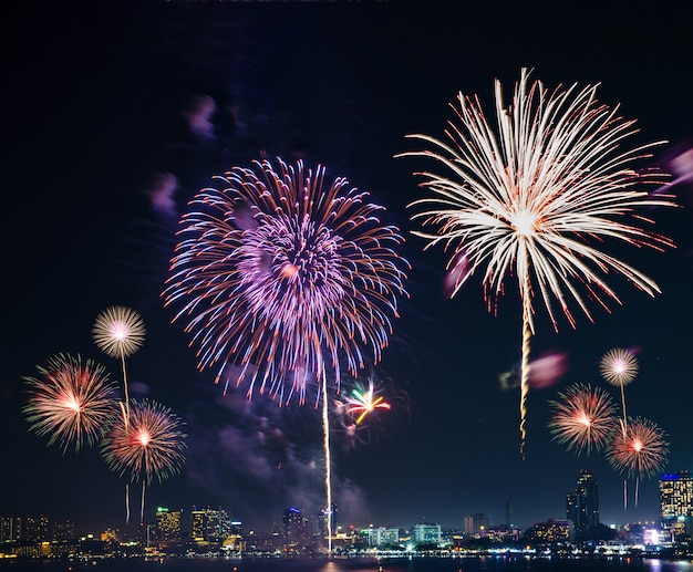 Colorful fireworks on the black sky background Premium Photo