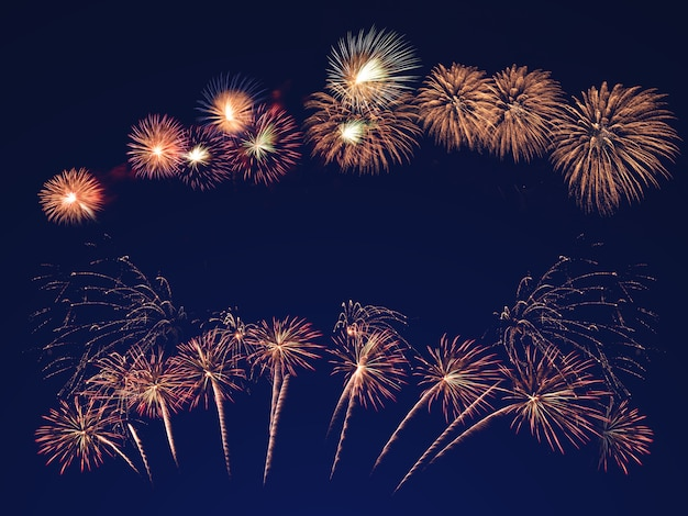 Colorful fireworks on the black sky. celebration and anniversary concept Premium Photo
