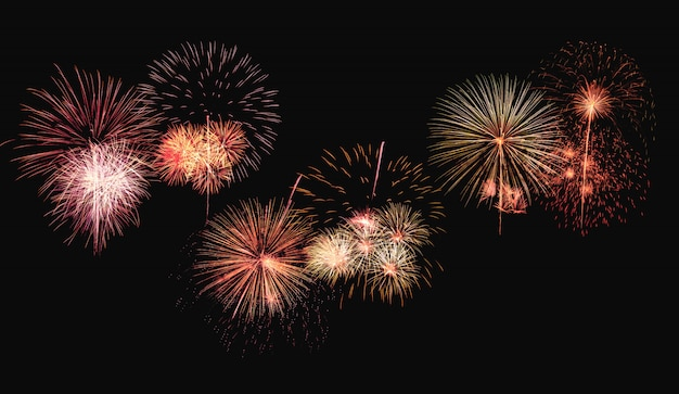 Colorful fireworks explosion on background Premium Photo