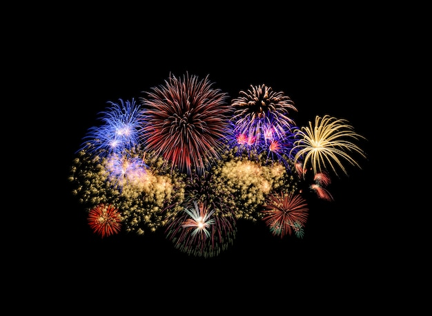 Colorful fireworks isolated on black background Photo ...