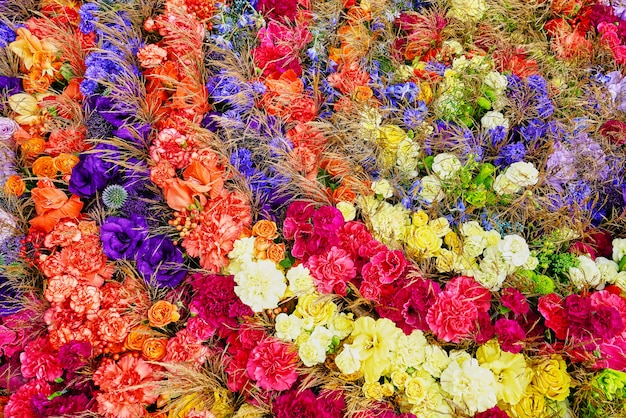 Colorful flowers. aster, roses, freesia flowers. view from above. Premium Photo