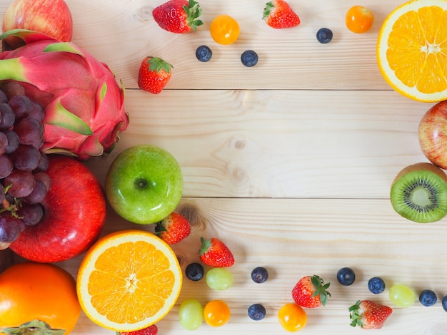 Colorful fresh fruits and vegetables background. | Premium ...