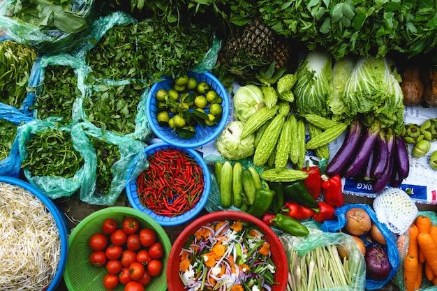 Colorful fresh produce at asian market Free Photo