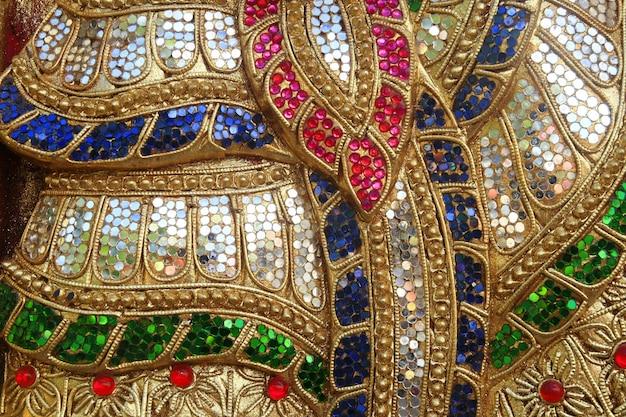 Colorful glass art wall, thai temple Premium Photo