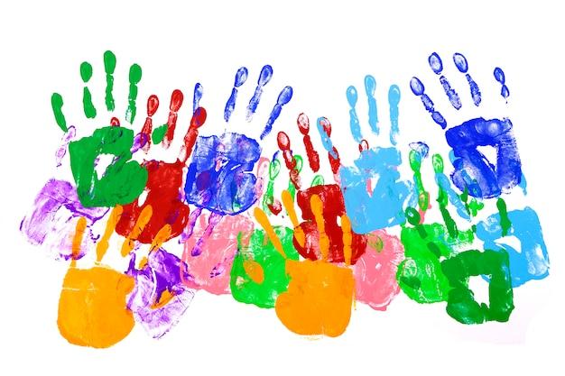 Colorful handprints Free Photo