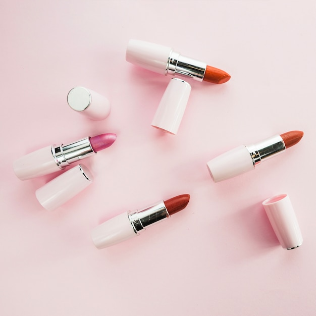Colorful lipsticks in white tubes Free Photo