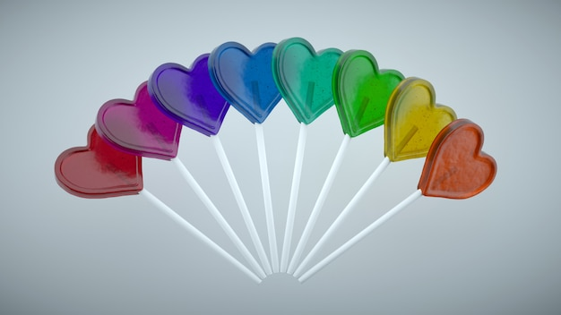 Colorful lollipops with a heart shape. gradient of primary colors. Premium Photo