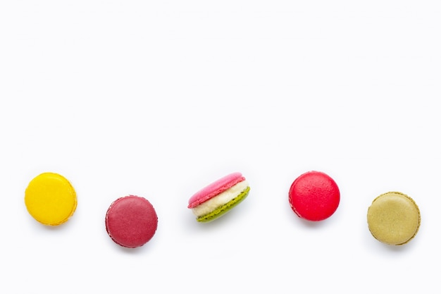 Colorful macarons isolated on white background Premium Photo