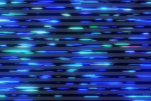 Красочный неоновый свет футуристический матричный поток передача данных летающая цифровая технологическая анимация 3d-рендеринг Premium Фотографии