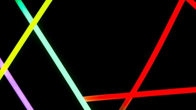 Colorful neon lights on black background Free Photo