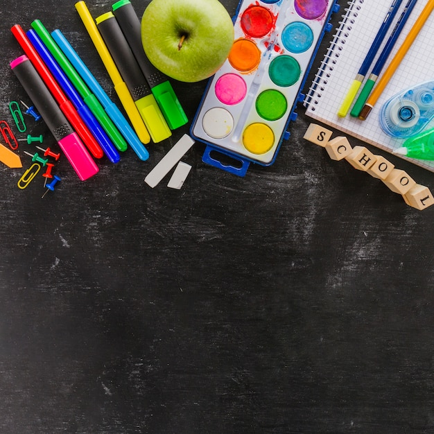 Colorful new supplies for school Free Photo