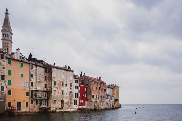Colorful old romantic town rovinj, istria, croatia Premium Photo