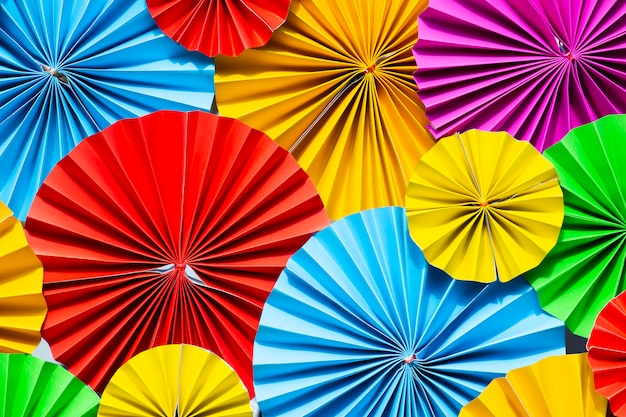 Colorful paper flowers background. Premium Photo