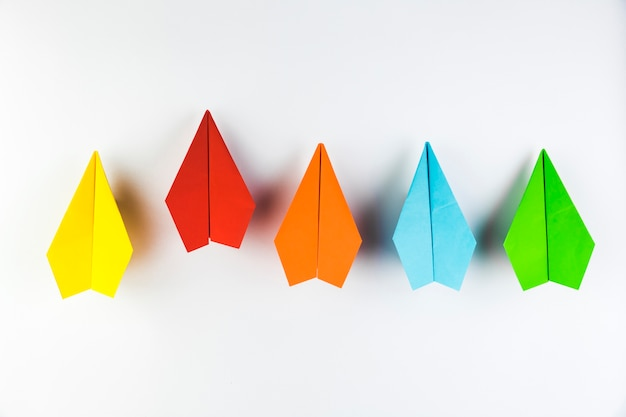 Colorful paper plane collection Free Photo