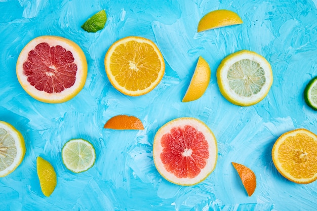 Colorful pattern made of slices citrus Premium Photo