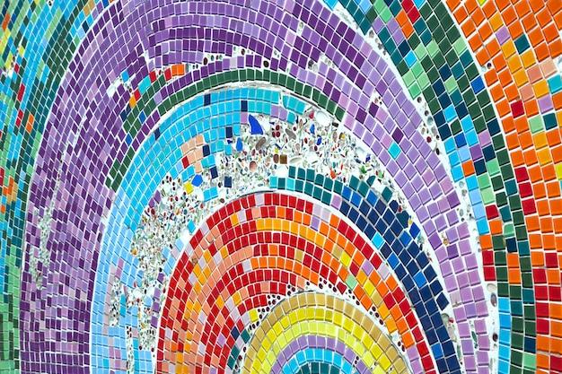 Colorful patterns of beautiful ceramics on the walkway. Premium Photo