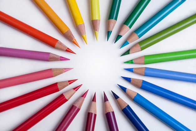 Colorful pencils in a circle Free Photo