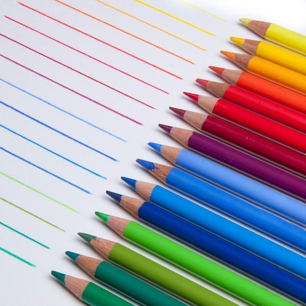 Colorful pencils close-up Free Photo