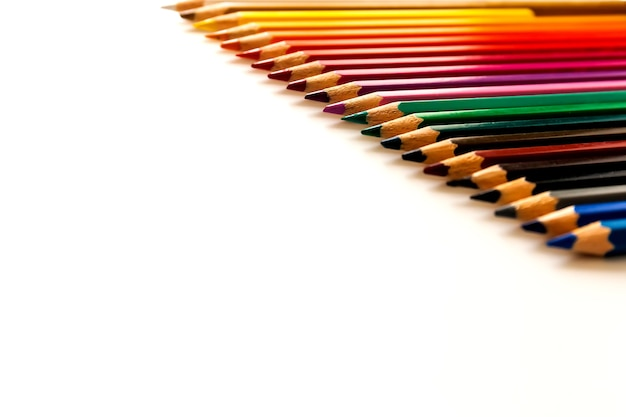 Colorful pencils on a white background Premium Photo
