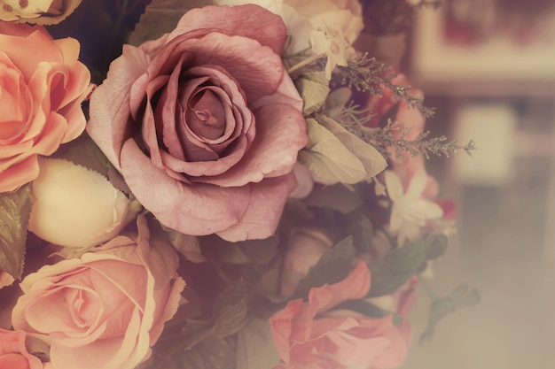 Colorful pink roses in soft color and blur style for background, beautiful artificial flowers Premium Photo