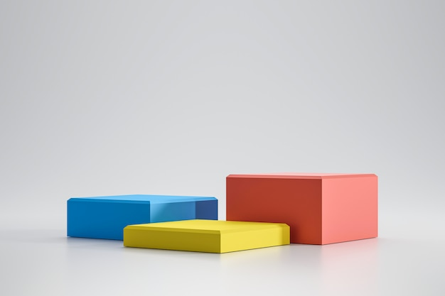 Colorful platforms on white background