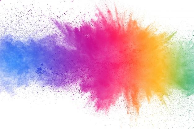 Colorful powder explosion on white background Premium Photo