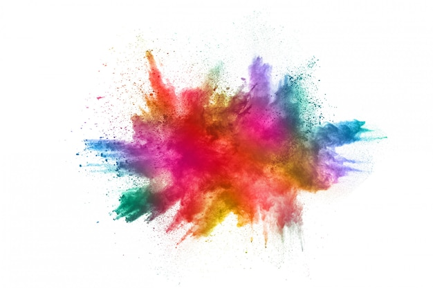 Colorful powder explosion on white background Premium Photo