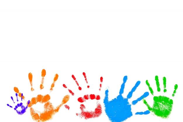 Colorful prints of children's palms Premium Photo