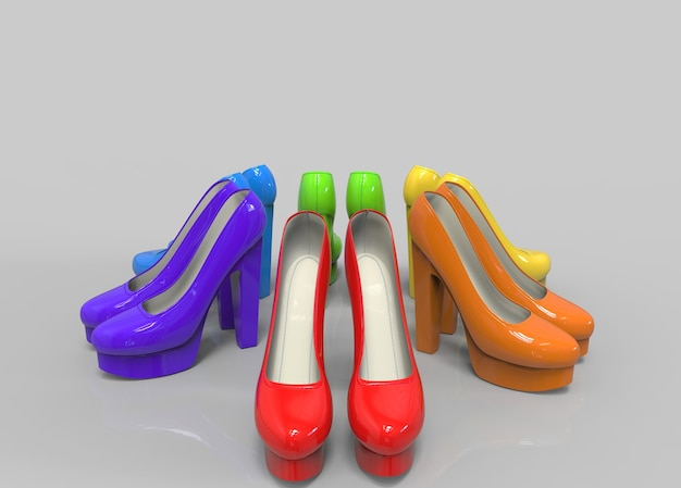 06b38abf108 Colorful rainbow color style high heels shoes on copy space gray background  Premium Photo