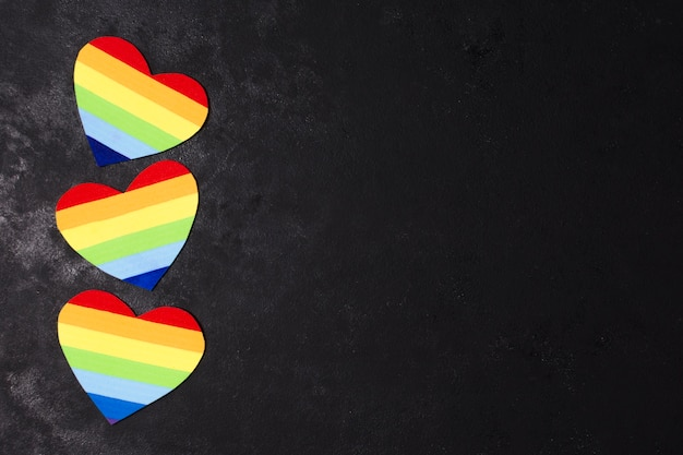 Colorful rainbow hearts for gay pride Free Photo