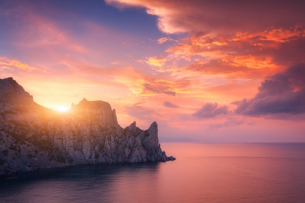 Colorful red sky. mountain landscape at sunset Premium Photo