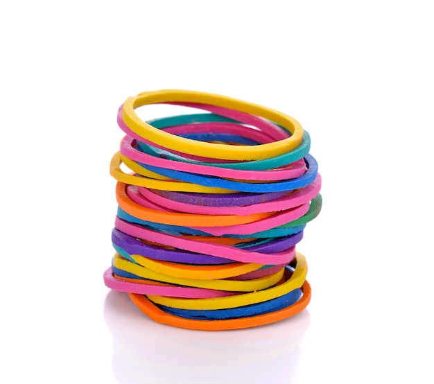 Colorful rubber bands on white Premium Photo